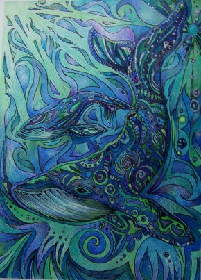 Spirit whales in another plane. Watercolour, colour pencil and black faber-castell pen. Summer 2012. Copyright Varya Vinogradova